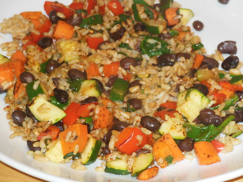 spicy brown rice and beans