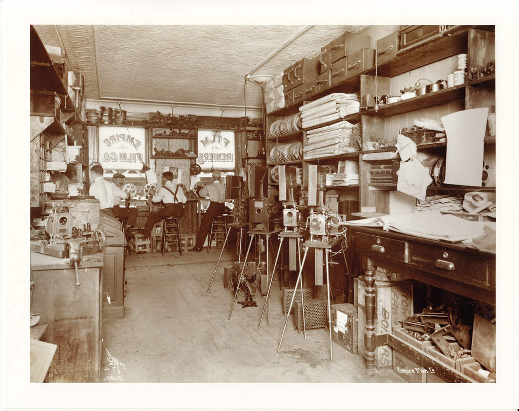 Photo 8x10: Emp  Film Co  Store Front With Silent Movie Pr