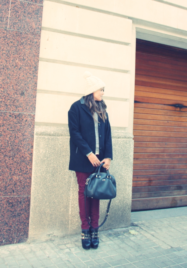 burgundy pant + black coat