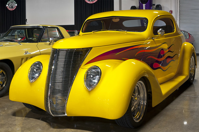 1937 ford 3 window coupe customized yellow with for 1937 ford 3 window