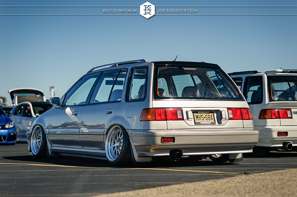 silver honda ef wagon at canibeats first class fitment 2012 3pc wheels static airride low slammed coilovers stance stanced hellaflush poke tuck negative postive camber fitment fitted tire stretch laid out hard parked klutch motorsports seen on klutch republik