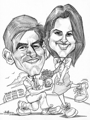 proposal couple caricatures in pencil