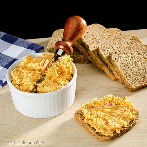 Pimento Cheese in Ramekin and on Party Rye