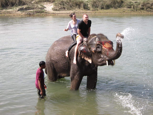 February - elephant riding in Chitwan, Nepal