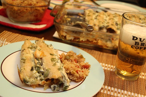 Shrimp Enchiladas with Roasted Poblano Cream sauce