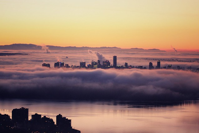 fog blanketing downtown vancouver