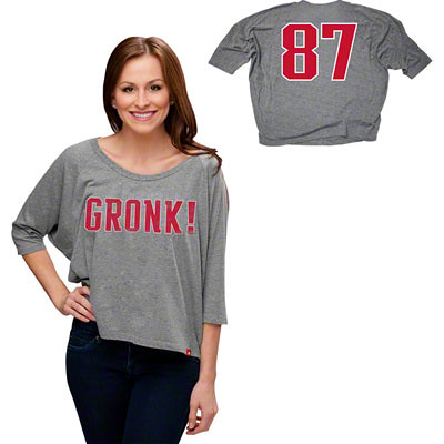 "Rob Gronkowski #87 ""Gronk!"" Grey Women's Tri-Blend Boat Neck Dolman Sleeve T-shirt"