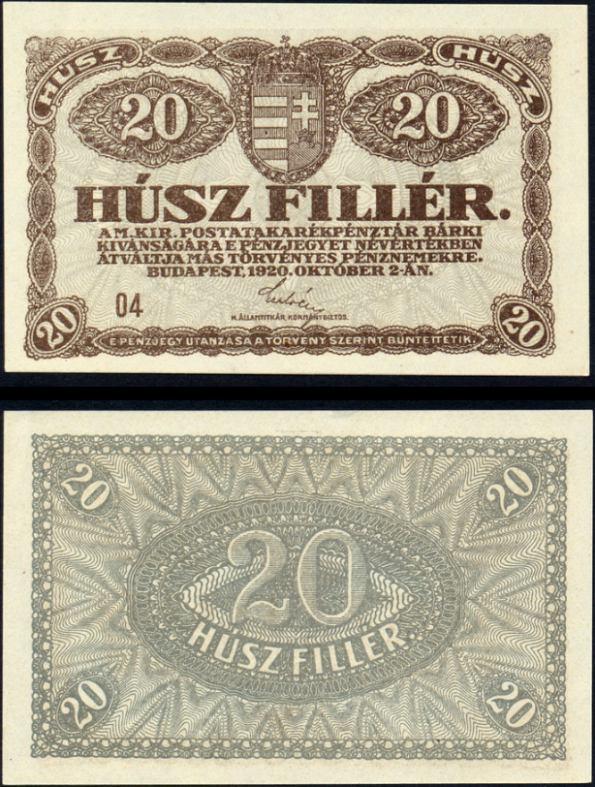 20 Fillér Maďarsko 1920, Pick 43