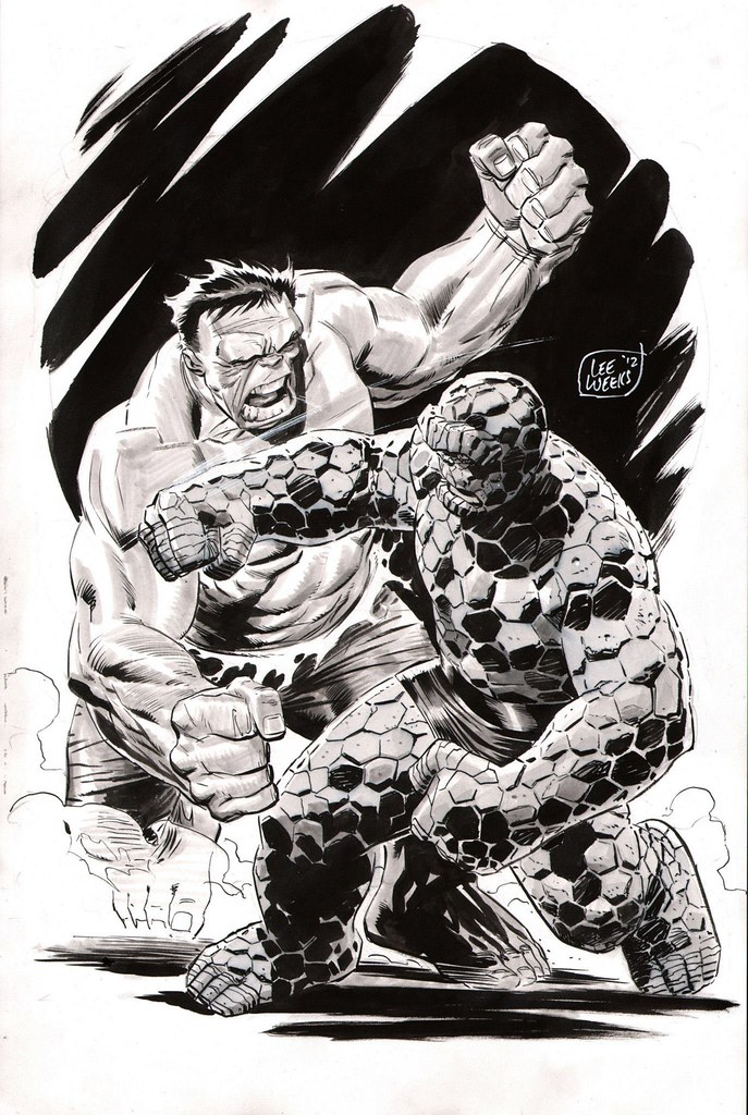 Lee Weeks Thing vs Hulk 2012 commission