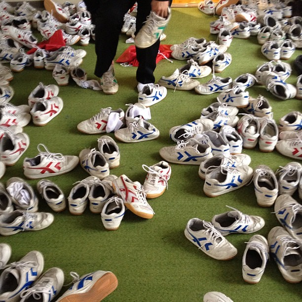 It's a sea of shoes outside  the gym! #japan #schoollife