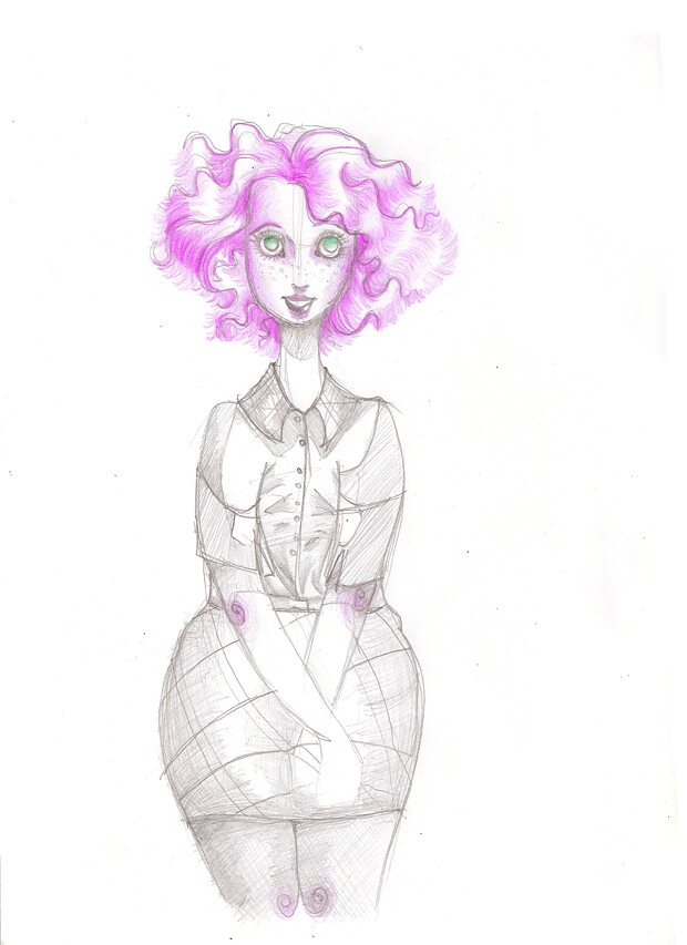 Femme yeux roses