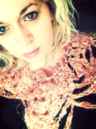 Crochet collar made from hand dyed and handspun mohair ...... I dyed and spun it on my spinning wheel :) by mitsib