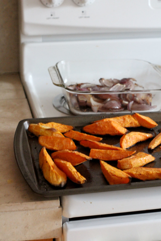 roasted sweet potatoes and red onions