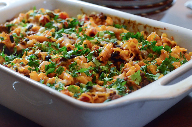 Cilantro is sprinkled on top of the Taco Pasta Bake.