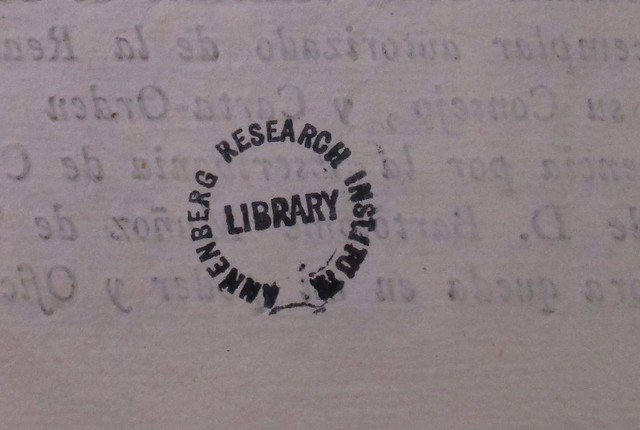 Stamp -- inked: Annenberg Research Institute. Library (Penn Libraries)