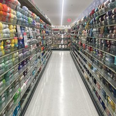 #hobbylobby is open in #beaumontca #banningca look at this perfectly organized and filled #yarn aisle! It brings me crafting pleasure just looking at it. :) If they have a craft room inside, I might make it my satellite office, hehe
