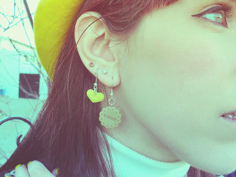 Ai Candies Cookie earrings & Yellow Heart earrings
