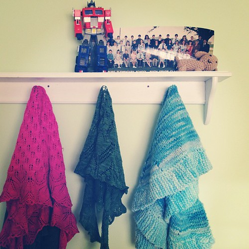 Yay! Jay hung a shelf & now my shawls can be admired! (Not sure what will go on the shelf, this was just silliness)