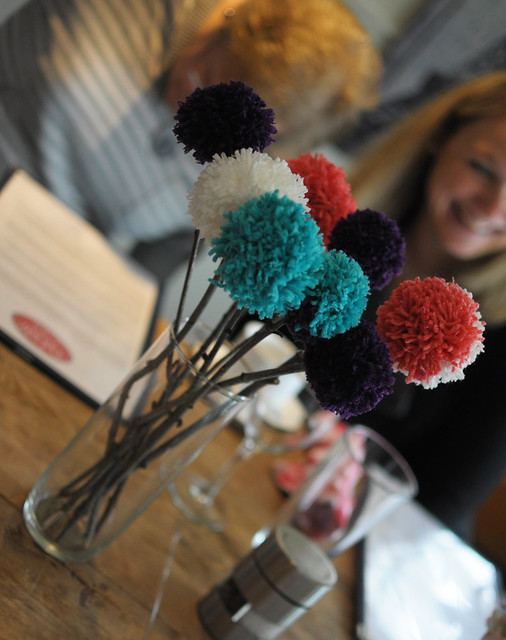 baby shower, pom pom flowers