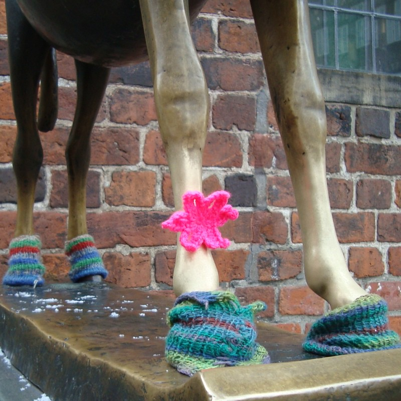 yarnbombed donkey