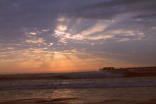 light sunset sea beach sand shadows