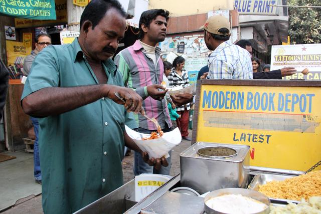 Snack vendor in Kolkata, India