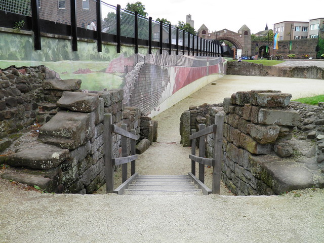 The East entrance of the Roman amphitheatre known as portae posticae, Deva Victrix (Chester, UK)