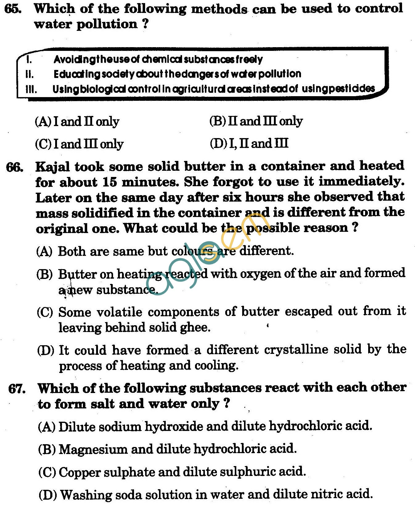NSTSE 2010 Class VII Question Paper with Answers - Chemistry
