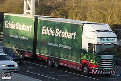 Scania R440 6x4 Curtainside with Drawbar Curtainside Trailer - PE61 KOW - Kathie Helen - Green & Red - Eddie Stobart - M1 J10 Luton - Steven Gray - IMG_0568
