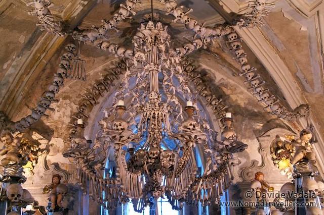 The chandelier of the bone church in Czech Republic
