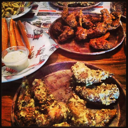 Chicken wings at hooters after a hard race!