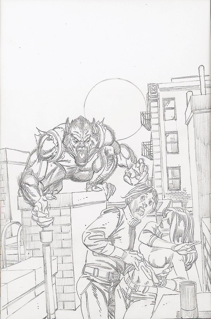 Gil Kane - Creatures on the Loose #30, Man-Wolf Cover Preliminary Original Art 1974