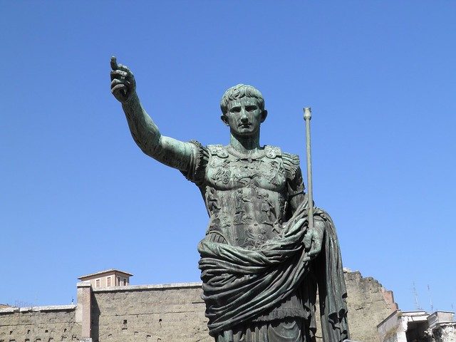 Bronze statue of Augustus in front of his Forum, Imperial Forums, Rome