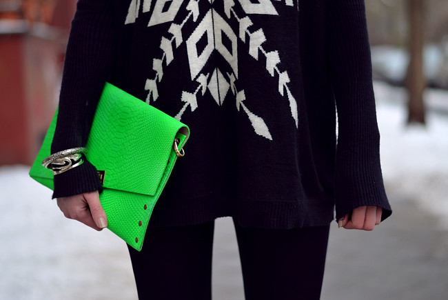 Blogger outfit: ohhandy green clutch AX Paris jumper 5
