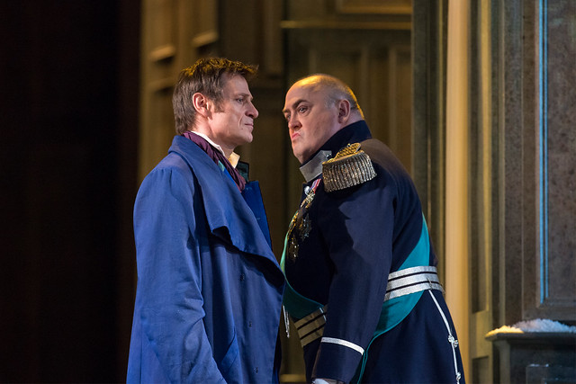 Simon Keenlyside as Eugene Onegin and Peter Rose as Prince Gremin in Eugene Onegin © ROH / Bill Cooper 2013