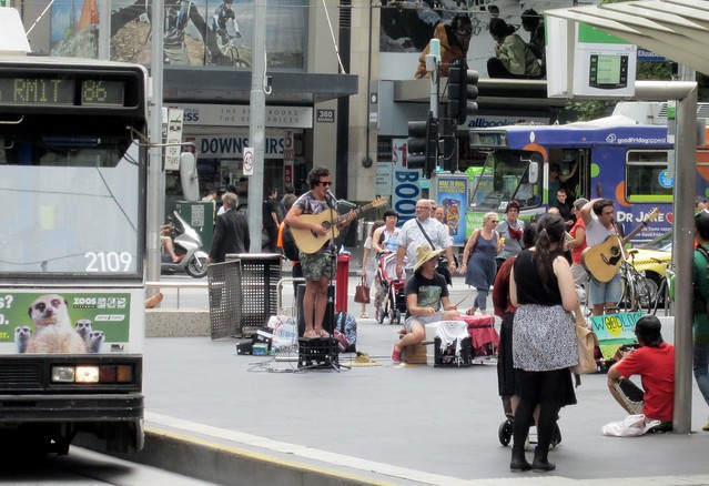 Live -- from a tram stop in the Bourke Street Mall