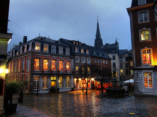 Aachen evening with rain