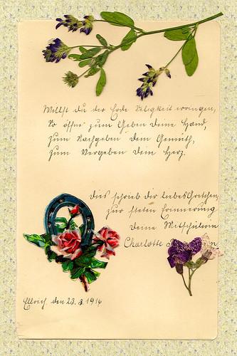 Poesiealbum Spruch Blumen Oblate Erinnerung Sütterlin Kurrentschrift