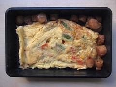 Tortilla francesa con pimiento rojo, maíz y trigueros + zamburiñas a la plancha con salsa teriyaki
