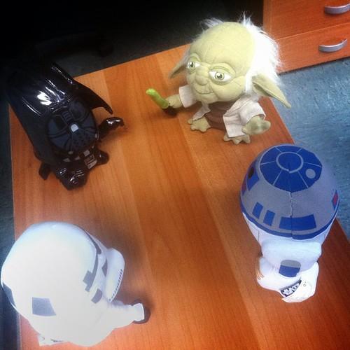 #Standup meeting #agile #uxd #starwars heroes  master Yoda, Darth, R2-D2, imperial stormtrooper