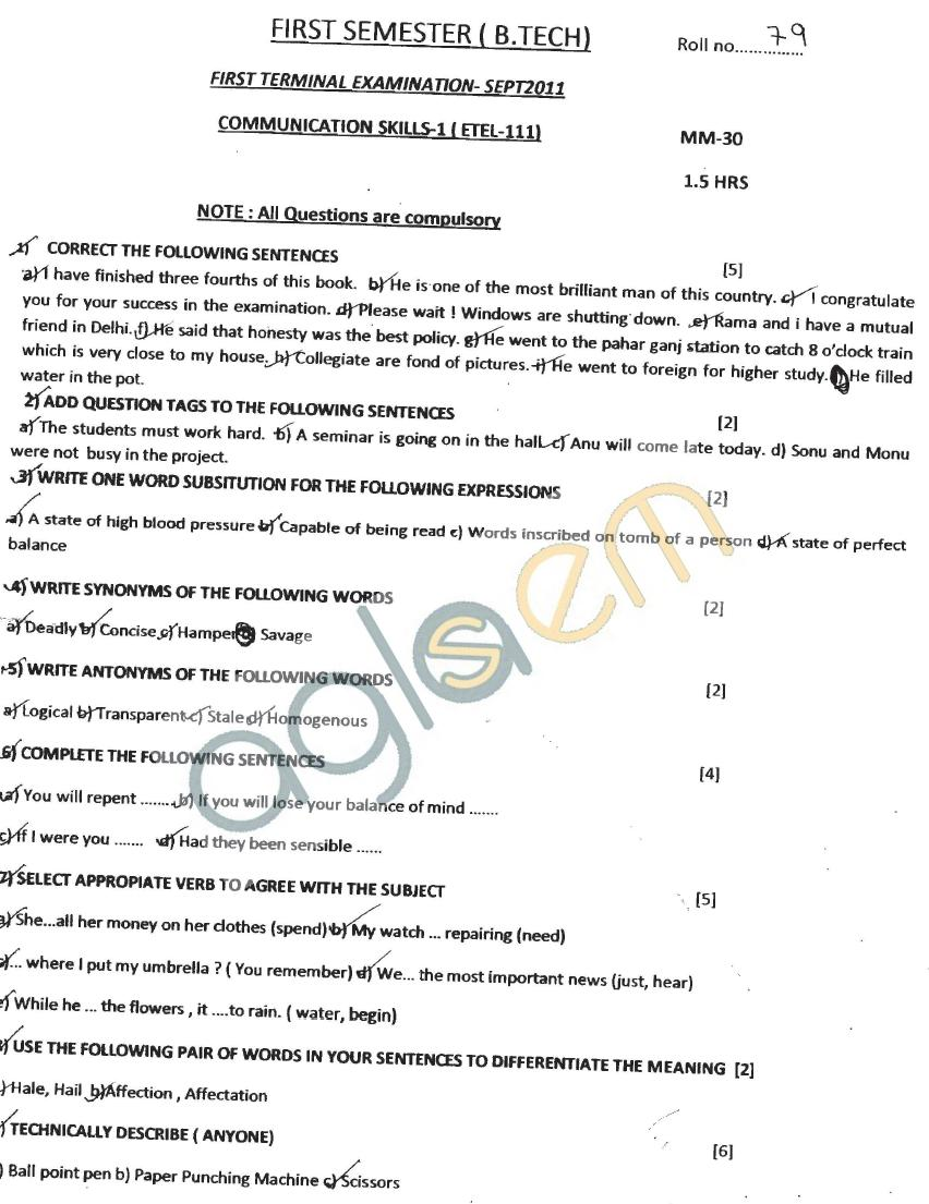 GGSIPU: Question Papers First Semester - First Term 2011 - ETEL-111