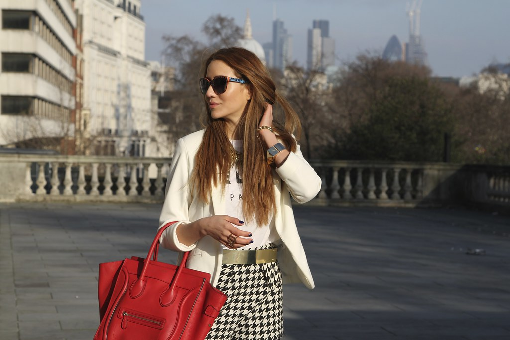 london blog, celine, houndstooth shorts, dogs tooth