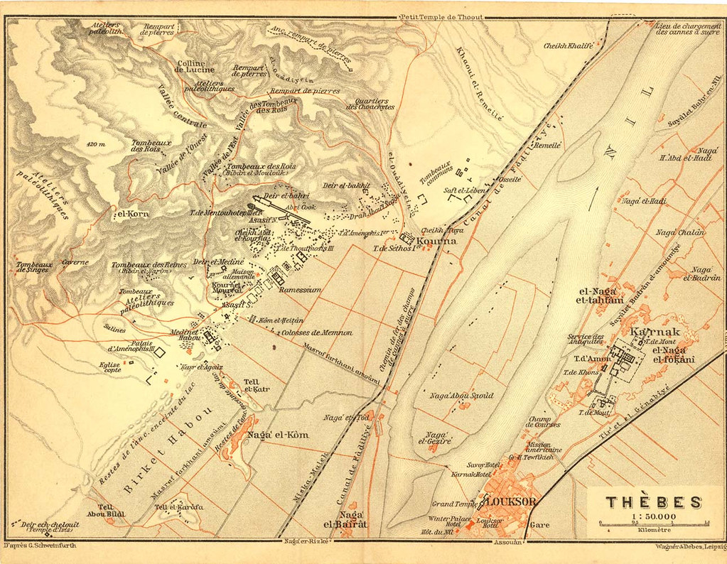 Map Of Thebes Luxor And Karnak Egypt Archeological Site Flickr