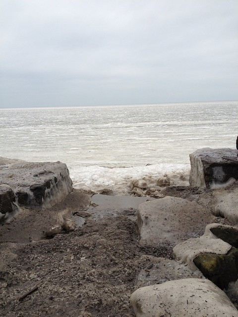 Frozen Lake Erie from Edgewater Park