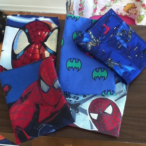 Pillowcases ready for Toronto ComiCon! #geek #craft #SpiderMan #batman