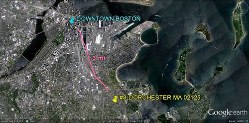 Dorchester in relation to Boston (via Google Earth)