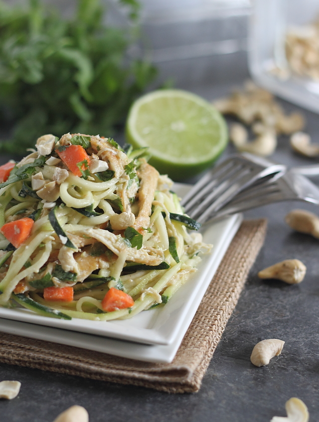 Thai chicken noodles made from zucchini