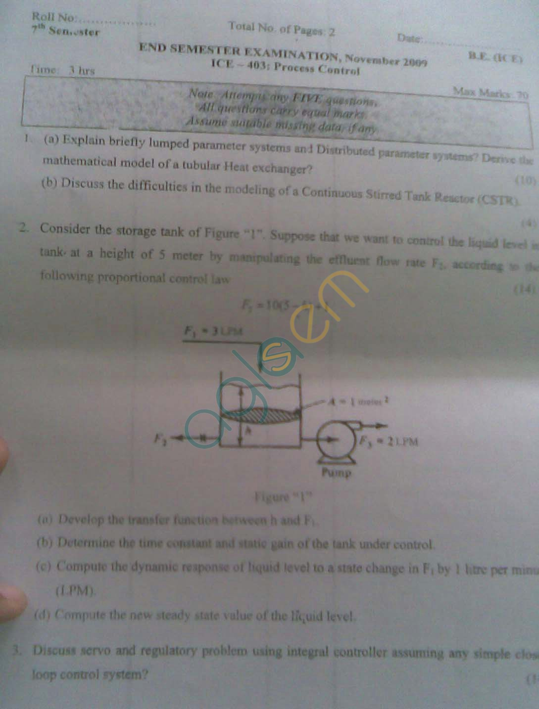 NSIT: Question Papers 2009 – 7 Semester - End Sem - ICE-403