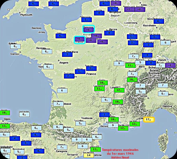 températures maximales contrastée du 1er mars 1946 météopassion