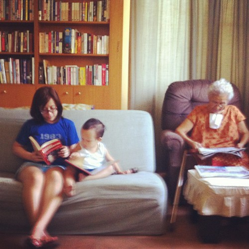 Great-grandma reading news. Me reading Library Confidential. Timmy reading The Book That Eats People. Reading is fun!